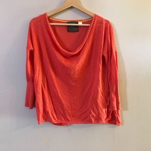 Guinevere Antro Coral Eyelet Scoopneck Top s